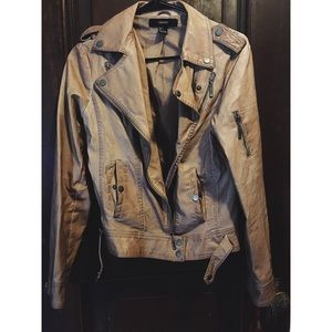 Tan Moto faux leather jacket